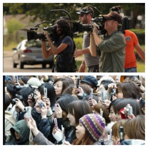 Above, video footage was captured by a skilled professional camera crew before smart technology was introduced. Below, a camera crew now consists of a fleet of everyday fans with smart phones.
